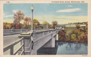 Wisconsin Rhinelander Davenport Street Bridge 1950 Curteich