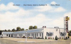 Cairo Illinois~City Motel~Route 51~Art Deco~1940s Linen Postcard