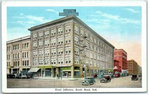 South Bend, Indiana Postcard HOTEL JEFFERSON Street View Kropp c1930s Unused