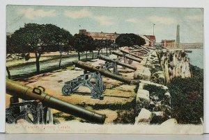 Cuba Parapet Fortress Cabana Military Cannons Antique Postcard K1