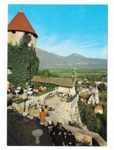 Slovenia Jugoslavia Bled Island View from Castle Pogled z Gradu Vtg 4X6 Postcard