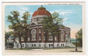 Central Methodist Church Pontiac Michigan 1920s postcard