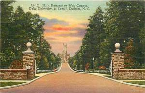 NC, Durham, North Carolina, Duke University, Main Entrance, West Campus