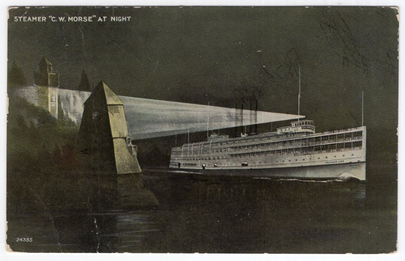 Steamer C. W. Morse At Night