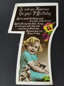 c1930's LITTLE GIRL & THREE KITTENS Cut Out Numeral 7th Birthday Postcard