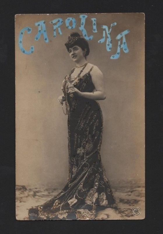 EMBOSSED TINTED REAL PHOTO POSTCARD  GLAMOUR EDWARDIAN PIN UP GIRL CAROLINA