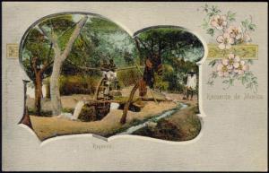 mexico, Native Boys on Water Mill, Noria, Regando 1899