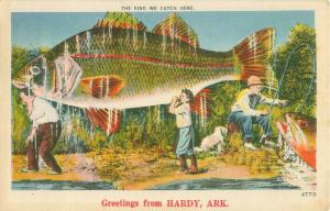 Greetings from Hardy, AR, Giant Fish The kind we catch here 1951 Postcard