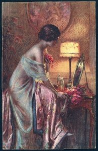 Sexy Woman in Nightgown Mirror & Lamp Unused c1910s