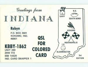 comic - QSL HAM RADIO CARD Kokomo Indiana IN t0875
