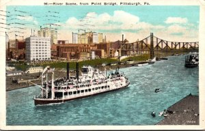 Pennsylvania Pittsburgh River Scene From Point Bridge 1926