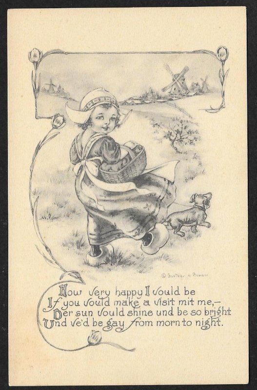 Very Happy I would be Visit mit me Dutch Dressed Girl w/Dog Walking Used c1910s