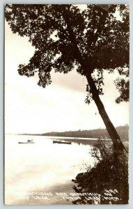 Trout Lake Michigan~Boats on Carp Lake~Tree Overhangs~1930s RPPC