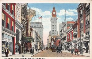 Baltimore Street, Looking West, Baltimore, Maryland, Early Postcard, Unused