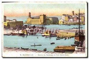 Old Postcard Marseille Basin Carenage and Fort St. John