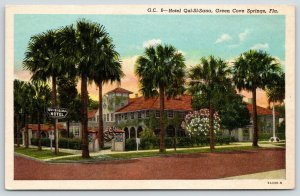 Green Cove Springs Florida~Hotel Qui-Si-Sana~Sign in Front~1940s Postcard