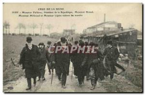 Old Postcard Crue of the Seine Fallieres Mr. President of the Republic Flooding