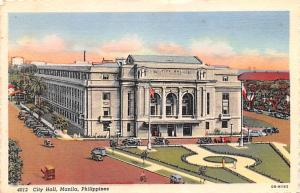 Philippines Old Vintage Antique Post Card City Hall Manila Writing on back