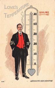 AH Valentine~Love's Temperature~Smoking Gent Next to Boiling Point Thermometer