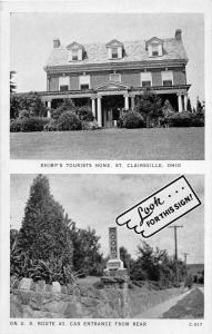 E90/ St Clairsville Ohio Postcard c1940s Shimp's Tourist Home 2View