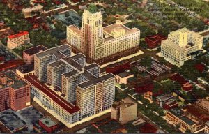 Michigan Detroit Aerial View New Center Building & General Motors Building Cu...