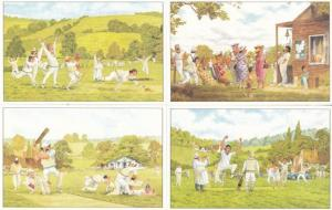 Steve Garner 4x Cricket Comic Humour Postcard Bundle