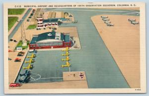 Postcard SC Columbia Municipal Airport Headquarters 105th Observation Squad L20