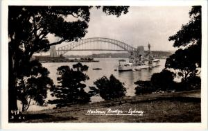 RPPC  SYDNEY, Australia   HARBOUR  BRIDGE  Naval Ship  1942  Postcard