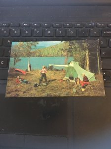 Vintage postcard -  Camping, Chow Time at Camp