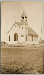 Vintage RPPC Real Photo Postcard Church Building View c1910s Unused
