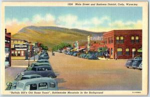 Cody, Wyoming Postcard Main Street & Business District Linen c1940s Unused