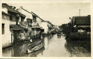 indonesia, JAVA BATAVIA, Water Scene with Boats and Houses (1920s) RPPC Postcard