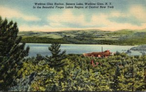 New York Watkins Glen Seneca Lake Watkins Glen Harbor Curteich