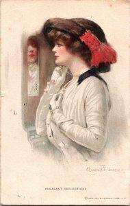Artist Signed Clarence Underwood Vtg Postcard Pleasant Reflection