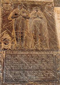 Netherlands Leiden Hooglandse Kerk. Grafsteen Justinus van Nassau