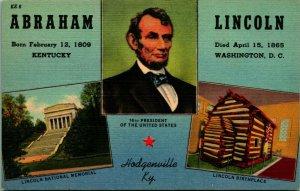 Abraham Lincoln Hodgenville Kentucky KY Multi View UNP Vtg Linen Postcard