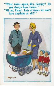 Mrs Lovejoy Lady Pushing Pram With Twins Priest Vicar Comic Humour Postcard