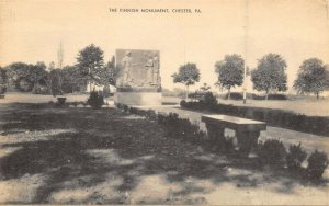 Chester Pennsylvania~Crozer Park Finnish Monument~Concord Road~c1940 B&W PC