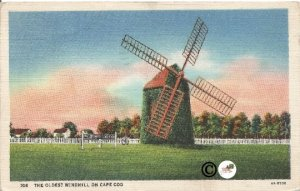 The Oldest Windmill on Cape Cod Curteich Linen Vintage Postcard
