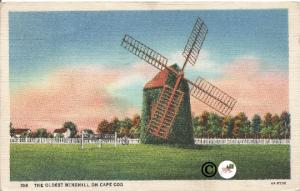 The Oldest Windmill on Cape Cod Curteich Linen Vintage Postcard