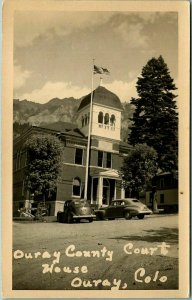 1940s Ouray, Colorado RPPC Photo Postcard OURAY COUNTY COURT HOUSE Street View