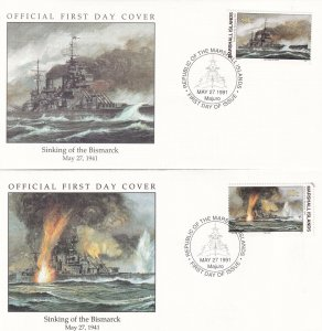 Sinking Of The Bismarck Ship 1941 Military 2x WW2 First Day Cover s