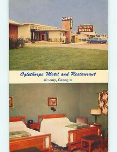 Unused 1950's OLD CARS & OGLETHORPE RESTAURANT & MOTEL Albany GA s6588-12
