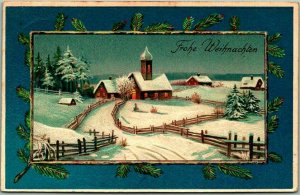 German CHRISTMAS Greetings Postcard Church Scene Frohe Weihnachten 1910 Cancel