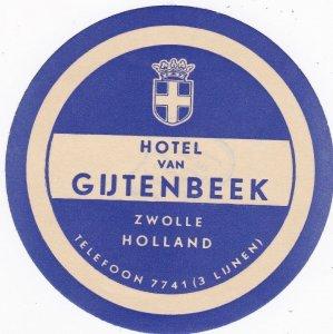 Holland Zwolle Hotel Van Gijtenbeek Vintage Luggage Label sk3777
