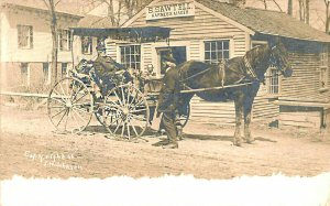 Bradford NH S. Sawtell Harness Maker Horse & Wagon Real Photo Postcard