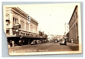 Vintage 1946 RPPC Postcard 4th Avenue Olympia Washington Nice Antique Cars
