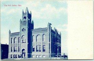 GUTHRIE, Oklahoma Postcard City Hall Street View / Fred Harvey c1910s Unused