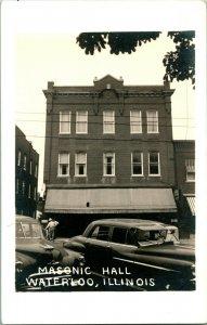 Vtg Postcard RPPC 1940s Masonic Temple - Waterloo IL Illinois - Unused