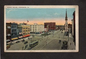 PA Market St Street Trolley Cars Church Harrisburg Pennsylvania Postcard
